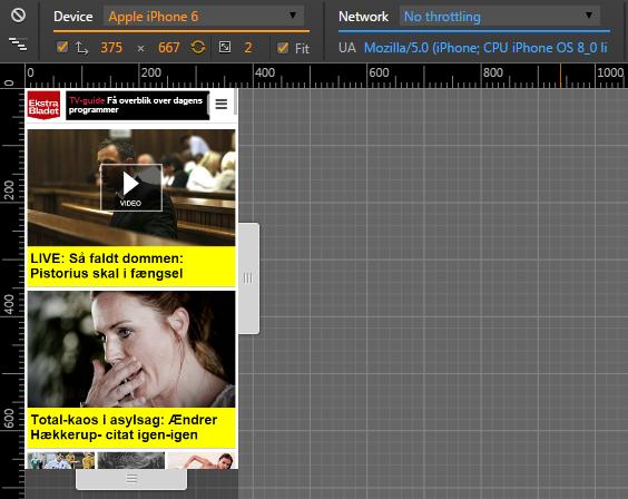 ekstrabladet.dk's mobilsite i Chrome